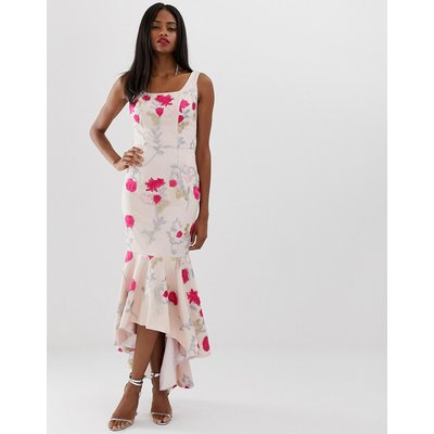 Chi Chi London floral embroidered high low dress with square neck in neon floral
