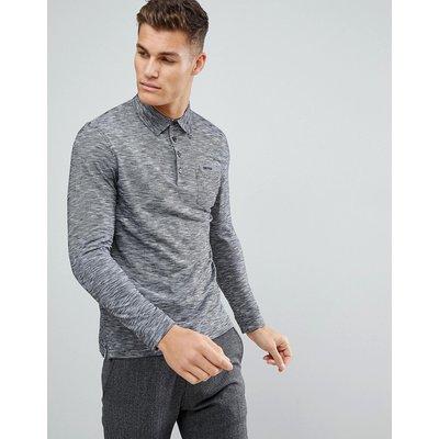 TOM TAILOR Tom Tailor - Langärmliges Polohemd aus verzwirntem Garn - Schwarz