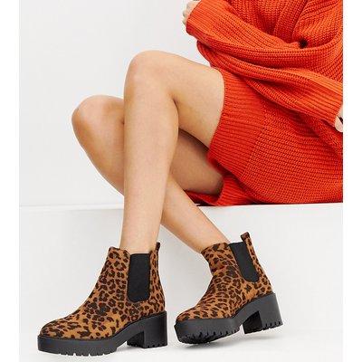NEW LOOK New Look - Flacher Stiefel mit dicker Sohle und Leopardenfellmuster - Steingrau
