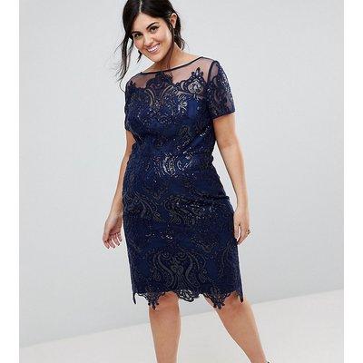Chi Chi London Plus Cap Sleeve Midi Pencil Dress
