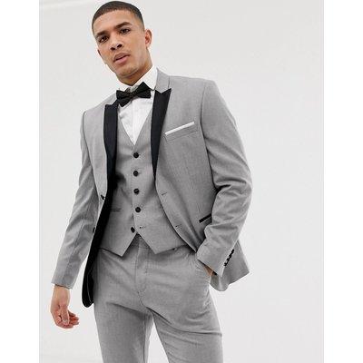 SELECTED Selected Homme - Schmale Jacke mit Satinrevers in Grau - Grau