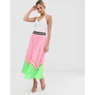 Liquorish pleated midaxi skirt in pink neon colour block