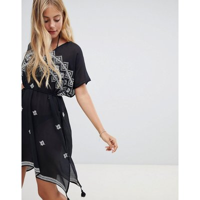 Seafolly cross stitch embroidered kaftan in black