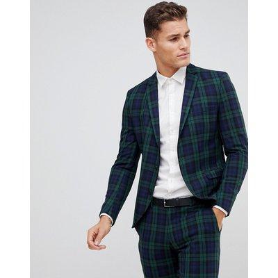 SELECTED Selected Homme - Blackwatch - Eng geschnittene Anzugjacke in Grün kariert - Grün