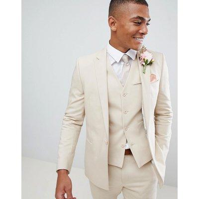 ASOS ASOS DESIGN - Wedding - Enge Anzugsjacke in Stone mit geradem Saum - Steingrau