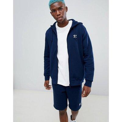 Sweatshirt & Hoodie im Sale - adidas Originals - Marineblaue Kapuzenjacke mit Reißverschluss und Trefoil-Logo