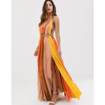 ASOS DESIGN maxi dress in colour block with metal circle waist trim