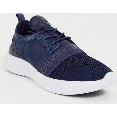 CALVIN KLEIN Calvin Klein - Mel - Marineblaue Web-Sneaker - Weiß
