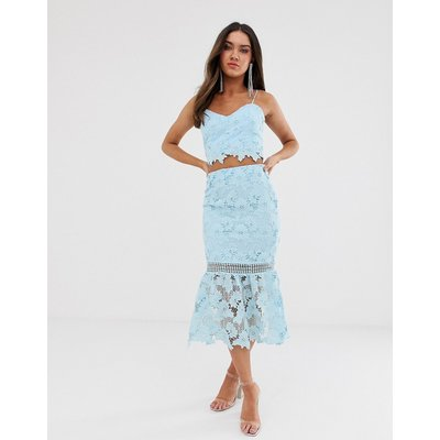 Love Triangle cutwork lace pencil skirt co-ord in soft blue