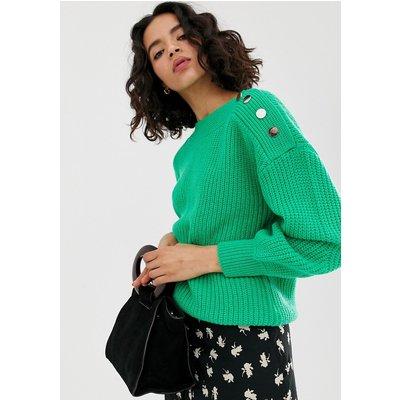 VERO MODA Vero Moda - Pullover mit Knöpfen an der Schulter - Grün