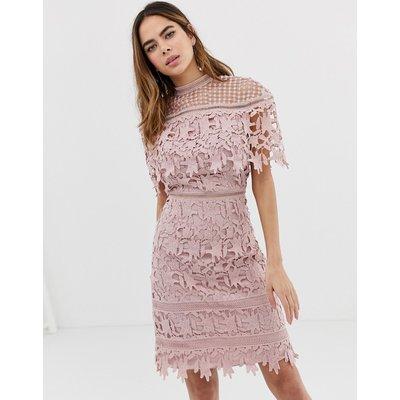 Chi Chi London high neck lace pencil midi dress in blush pink