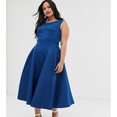 Chi Chi London Plus panelled midi dress in cobalt