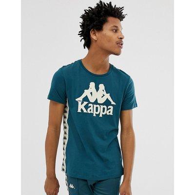 KAPPA Kappa - Blaues T-Shirt mit Logo auf der Brust und Kontraststreifen - Blau