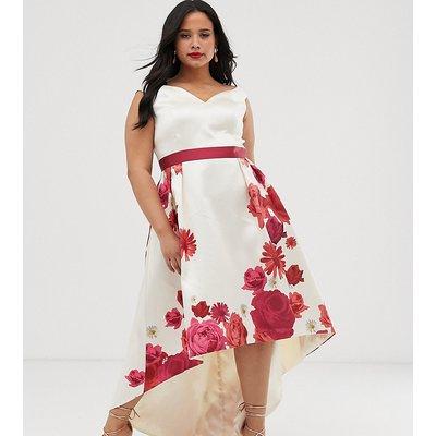 Chi Chi London Plus bardot midi dress in floral print