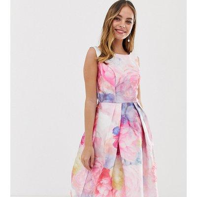 Chi Chi London Petite satin midi prom dress in bright floral