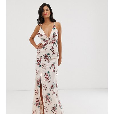Chi Chi London Tall embroidered maxi dress with split