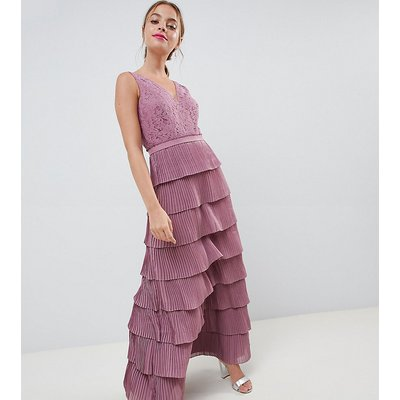 Little Mistress Petite laced tiered maxi dress