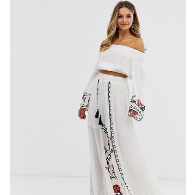 Violet Skye embroidered maxi skirt in cream