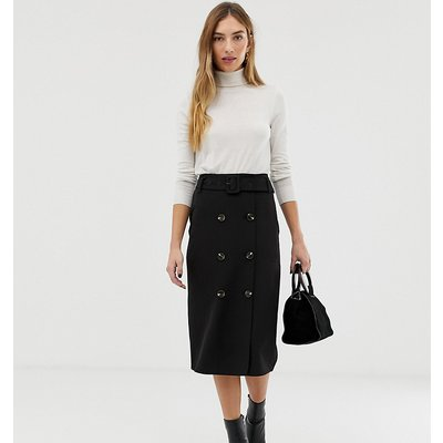 Warehouse midi pencil skirt with double button detail in black