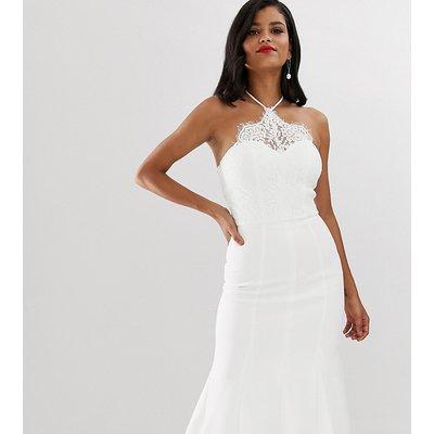 Chi Chi London Tall halter neck flippy hem midi dress in white