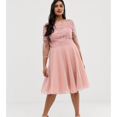 Chi Chi London Plus premium lace midi dress with chiffon skirt in pink