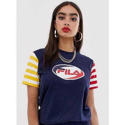 FILA Fila - Legeres T-Shirt mit Logo vorn und Blockstreifen - Blau