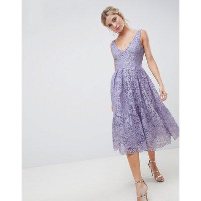 ASOS DESIGN lace plunge neck midi prom dress