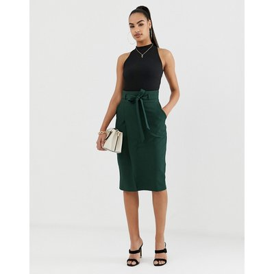 ASOS DESIGN tailored pencil skirt with obi tie