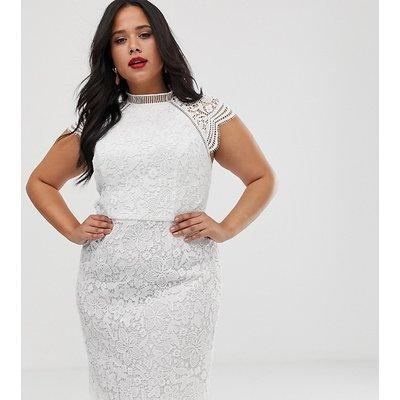 Chi Chi London Plus lace pencil midi dress in white