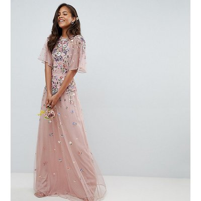 ASOS DESIGN Tall floral embroidered dobby mesh flutter sleeve maxi dress