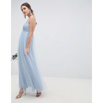 ASOS DESIGN lace and dobby cami bodice maxi dress