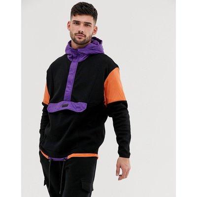 BERSHKA Bershka - Schwarzer Kapuzenpullover mit Farbblockdesign und Tasche - Schwarz