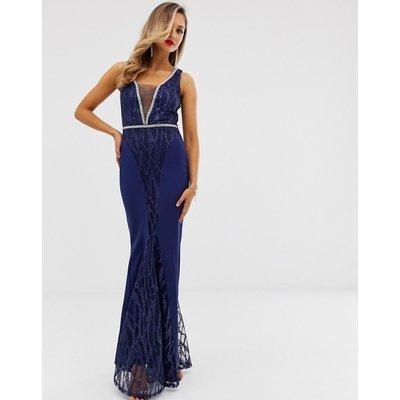 City Goddess sequin and chiffon plunge maxi dress