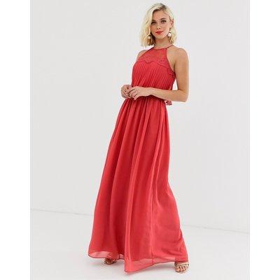 Chi Chi London halter neck maxi dress in burnt red
