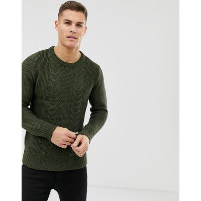 BRAVE SOUL Brave Soul - Pullover mit Zopfmuster - Grün