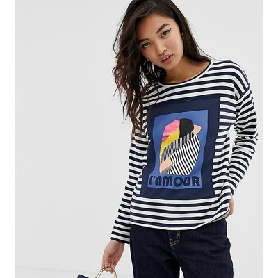"""ESPRIT Esprit - Sweatshirt in Schwarz und Weiß gestreift mit """"L'AMOUR""""-Aufschrift - Weiß"""