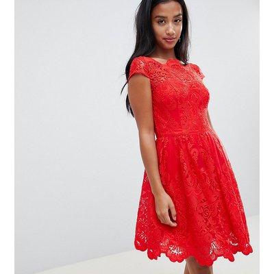 Chi Chi London Petite premium lace midi prom dress in red