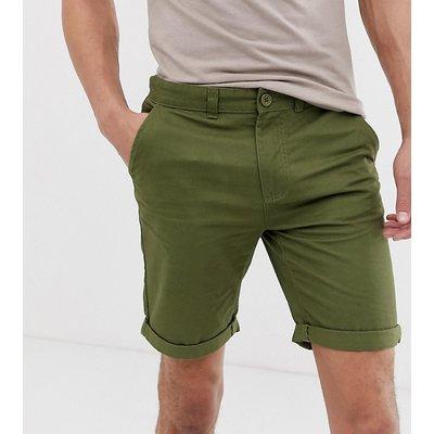 D-STRUCT D-Struct Tall - Schmale Chino-Shorts mit Umschlag - Grün