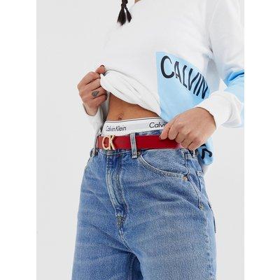 CALVIN KLEIN Calvin Klein - Ledergürtel mit Logo - Mehrfarbig