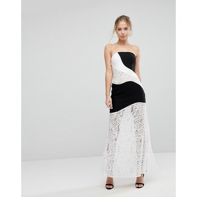 Aijek Maxi Dress With Monochrome And Lace Detail