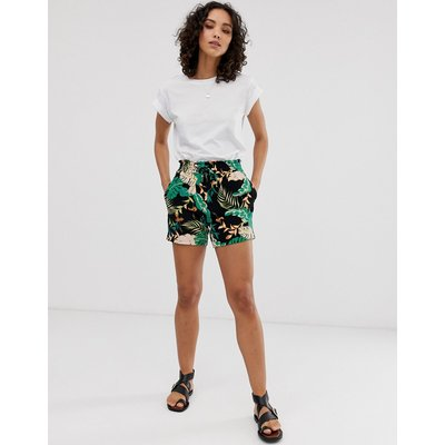 ONLY Only - Shorts mit tropischem Muster - Schwarz