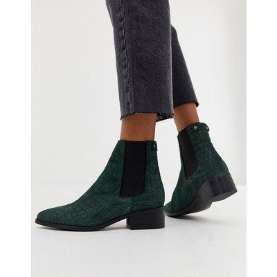 VERO MODA Vero Moda - Stiefel aus echtem Wildleder mit geprägtem Schlangenhautdesign - Grün