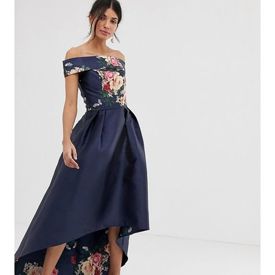 Chi Chi London Tall bardot neck prom dress with high low hem in navy floral