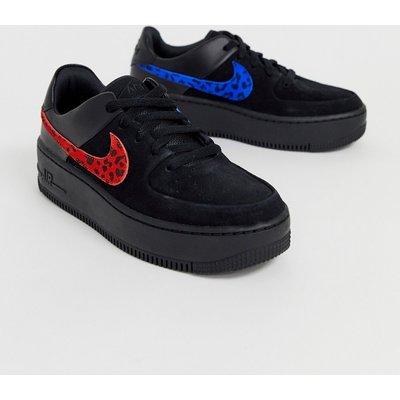 NIKE Nike - Air Force 1 - Salbeigrüne Sneaker mit Animalprint - Mehrfarbig