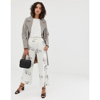 SELECTED Selected Femme - Gemusterte Hose mit weitem Bein und elastischem Taillenbund - Weiß