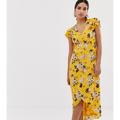 Oasis midi tea dress with frill sleeves in floral print