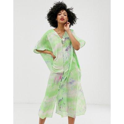 & Other Stories tie dye button through kaftan dress in green