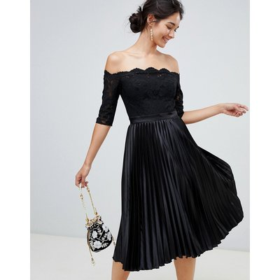 Chi Chi London lace top midi dress with pleated skirt in black