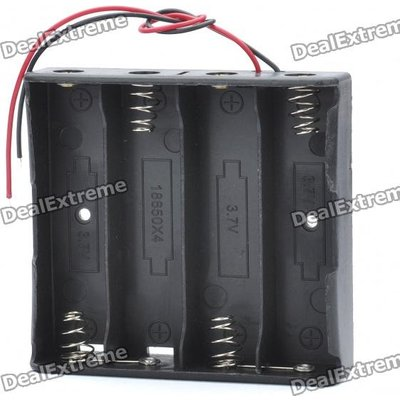 14.8V 4*18650 Battery Holder Case Box with Leads - Black