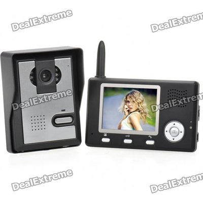 2.4GHz 3.5 TFT LCD Color 0.3MP CMOS Video Door Phone with 6-LED Night Vision - Black + Silver